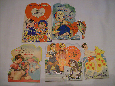 Vintage Valentine cards children fishing fish lake sea water boats lot of 5