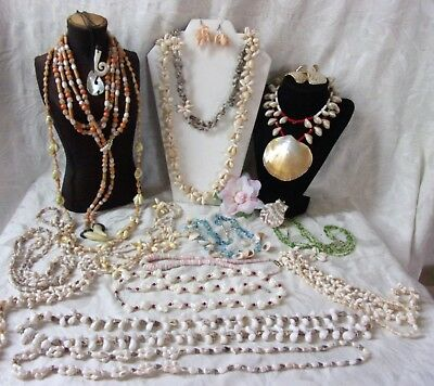 Vintage Jewelry Lot Lei Luau Hawaiian Shell Bead Necklaces Earrings Mother-Pearl