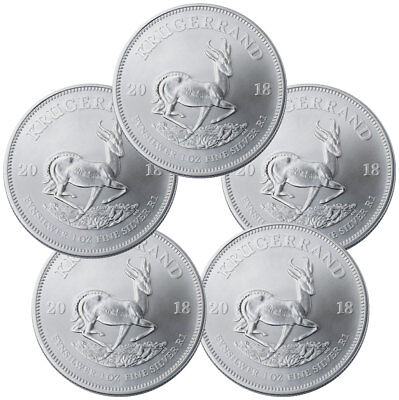 Lot of 5 -2018 South Africa 1 oz Silver Krugerrand R1 GEM BU SKU54745