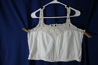 Victorian Camisole- M- White Cotton-Crocheted Leaves/Unique Insertion Slots