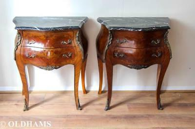 Stunning Pair French Louis XV Style Bombe Commodes / Bedsides - Ormolu / Marble