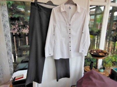 Bundle Lot Of 2 Size 18 Smart Clothes-Amaranto Grey Trousers +E-Vie Shirt Blouse