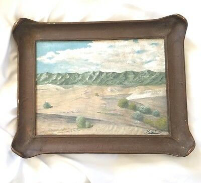 1920s ca Arts & Crafts Period Piecrust Frame with Signed KrisikLandscape Paining