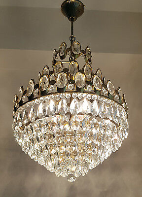 Vintage  French Basket Style Brass & Crystals LARGE Chandelier from 1980's