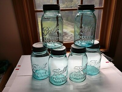 Six Ball Perfect Mason Quart Jars with Zinc Lids - All not the Same
