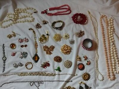 Huge 47 Pc Vintage Estate Jewelry Lot Judy Lee Sara Coventry Giovanni + Extras!