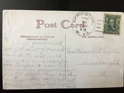PPC WVA West Virginia Springton DPO cancel postmark 1908