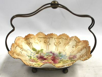 Vintage S.F&Co ROYAL DEVON Blushware Dish with Silver Plated Handle  - Y01
