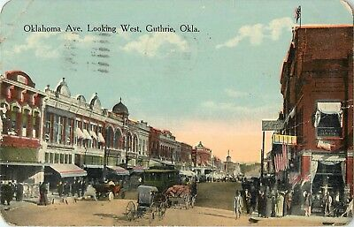 1915 Oklahoma Avenue Looking West, Guthrie, OK Postcard