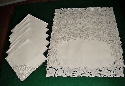 VINTAGE CUTWORK EMBROIDER FLORAL MADEIRA PLACEMATS & NAPKINS 12pc IVORY LINEN