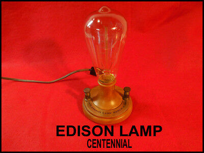 Commerative Edison Ligt Bulb--On Wooden Base With Switch-Cool Filament!