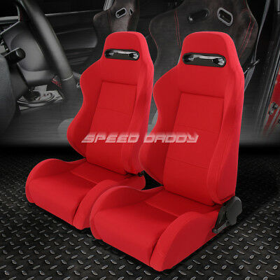 2 Type-R Lightweight Reclinable Woven Upholstery Racing Seat+Slider Red+Stitches