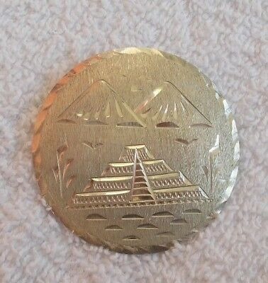 """Vintage Large Sterling Silver 2"""" Brooch Pin Jewelry Egyptian Mountains Pyramids"""