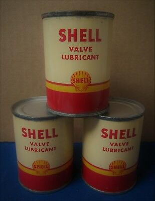 Three Vintage NOS Unopened SHELL VALVE LUBRICANT Oil Cans ~VERY GOOD CONDITION~