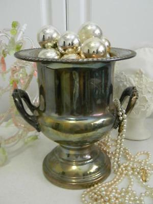 Fabulous Vintage Silver Plate Dbl Handled Champagne Ice Bucket~Trophy Urn~Patina