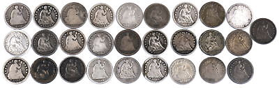 1838-1873 Seated Liberty Half Dimes Lot Of 28 Us 90% Silver Coins G-Vf Condition