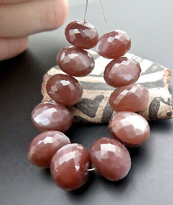 """11 STUNNING CAT""""S EYE CHOCOLATE COGNAC MOONSTONE 9.8-11.7mm FACETED BEADS 81.7ct"""