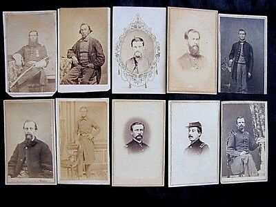 Historical Collection 1860's Civil War Union Officers & Soldiers Cdv Photographs