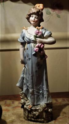 """Antique Porcelain Girl Figurine Germany 9"""" Tall Incised Mold # 3909 Gold Trim"""