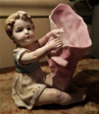 """Antique Porcelain Girl Figurine Spill Vase Germany 5"""" Tall Hand Painted Baby"""