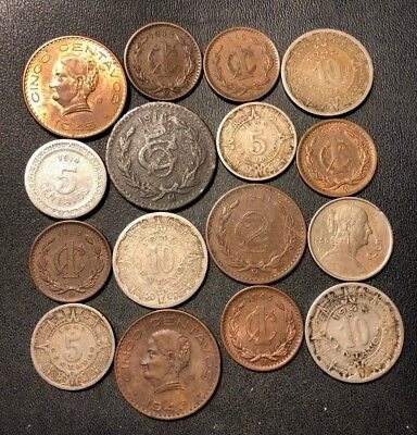 OLD MEXICAN COIN LOT - 1918-1950 - 16 VINTAGE Coins - Lot #815