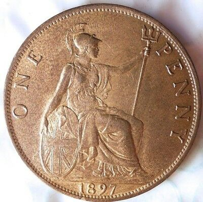 1897 GREAT BRITAIN PENNY - AU/UNC - Mostly RED - Awesome Coin - Lot #815