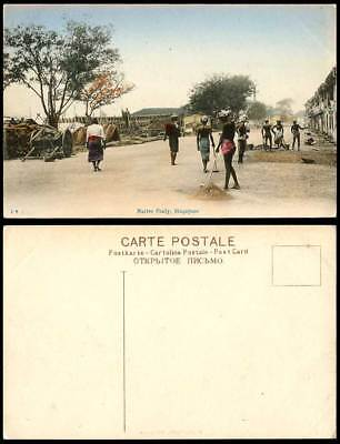 Singapore Old Hand Tinted Postcard Native Cooly, Barefoot Coolies & Street Scene