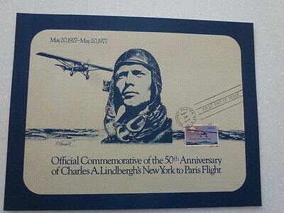 OFFICIAL COMM 50th ANN'Y OF CHARLES A. LINDBERGH'S NY TO PARIS FLIGHT - $1 S/H