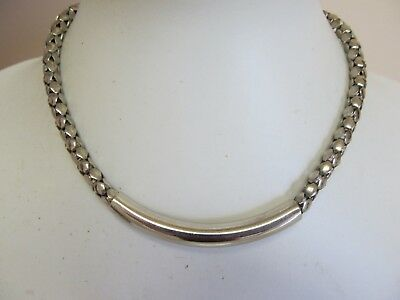 "Silver Tone Round Flexible Chain With Solid Piece 14"" Bib Necklace"