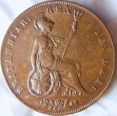 1826 GREAT BRITAIN 1/2 PENNY - AU/UNC - Mostly RED - Awesome Coin - Lot #815