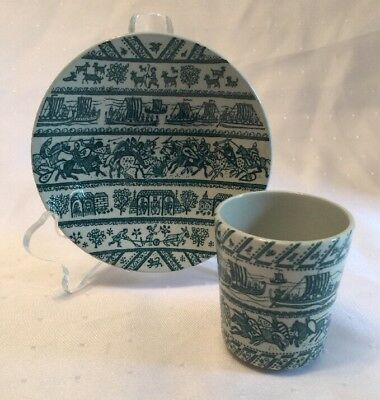 VINTAGE DENMARK NYMOLLE HOYRUP ART FAIENCE PLATE & MATCHING CUP # 4-5 Limited Ed