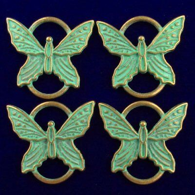 4Pcs 24x26x3mm Carved Brass Bronze Butterfly Pendant Bead F42340