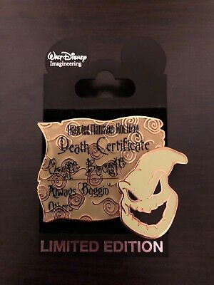 Disney Nightmare Before Christmas LE 300 Oogie Boogie Deatch Certificate Pin