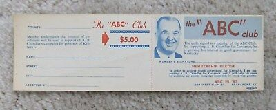 Old Vintage 1963 A. B. Happy Chandler Governor Member Pledge Form Kentucky Ky