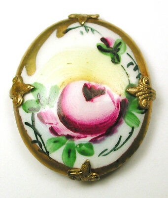 Antique Oval Porcelain Button Colorful Flower w/ Gold & Brass Border - 1 & 1/4""