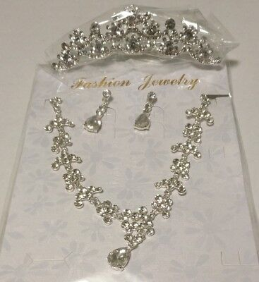 Jewelry Sets Bridal Tiara Crown+Long Earring + Necklace With Flower Pendant 3Pcs