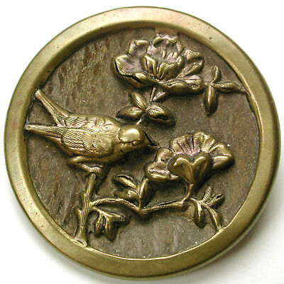 Lg Sz Antique Woodback Brass Button Detailed Bird & Flowers  Scene -1 & 7/16""