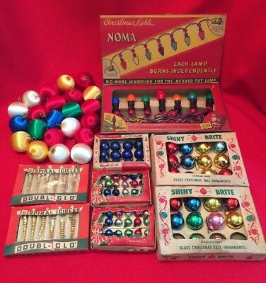 Vtg CHRISTMAS Lot 1939 NOMA 7 LIGHT STRAND 2 Box SHINY BRITE 2 Box SPIRAL ICICLE