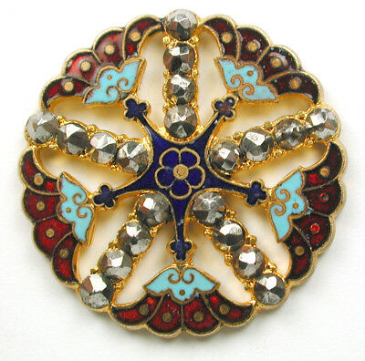 Lg Antique French Enamel Button Colorful Pierced Flower w/ Cut Steels- 1 & 1//4""
