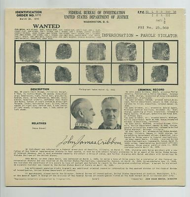 1940 FBI Mug Shot File Card Danville IL Illinois JOHN MORAN JAMES CRIBBON bv8903
