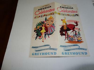 1949 America Celebrates,Travel Map of Festivals,Pageants all by Greybound Bus