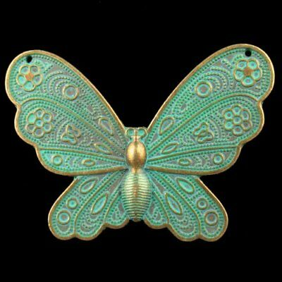 F42256 Carved Brass Bronze Butterfly Pendant Bead 60x42x3mm