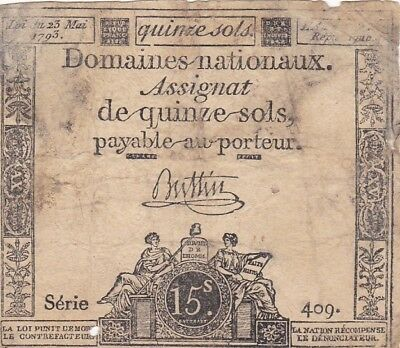 1793 France 15 Sols Note, Pick A68b