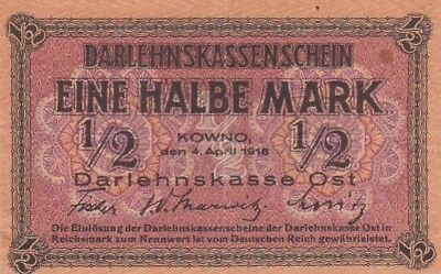 1918 Germany 1/2 Mark Lithuania Occupation Note, Pick R127.