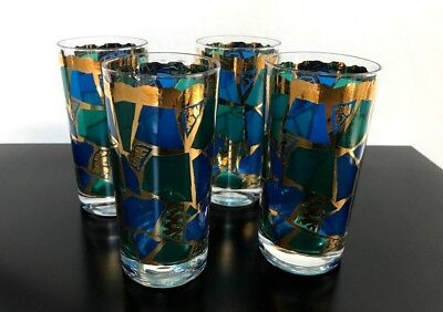 4 Mid Century GEORGES BRIARD Firenza 22K Gold Blue Green Signed Drink Glasses