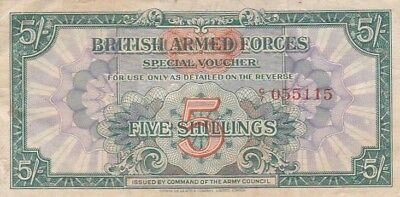 1948 Great Britain 5 Shillings Armed Forces Note, 2nd Issue, Pick M20a