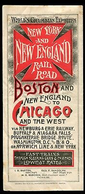 1893 Chicago World's Fair NEW YORK and NEW ENGLAND RAILROAD Timetable RR