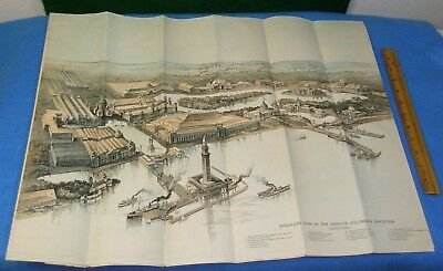 1893 WORLD'S FAIR Via ERIE LINES RR TIMETABLE w/ Lg Map & Birds-eye View Litho