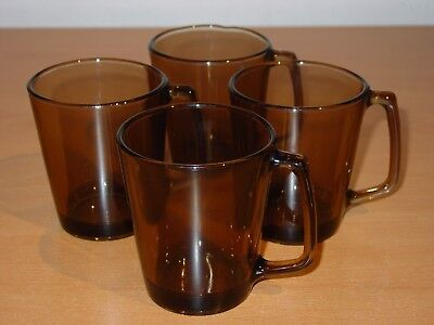Set Of 4 Amber Brown Clear Glass Pyrex D Handle Coffee Tea Mugs Cups Lot 1400