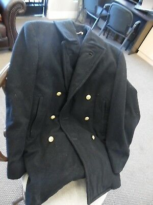 US Naval Academy Midshipman Sherpa Lined Navy Peacoat Sz Mens Med or Women Large